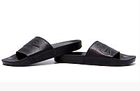 Мужские кожаные летние шлепанцы Nike black черные, фото 1