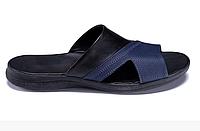 Чоловічі шкіряні літні шльопанці-сланці E-series Biom blue сині, фото 1