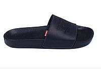 Мужские кожаные летние шлепанцы Levis black черные, фото 1