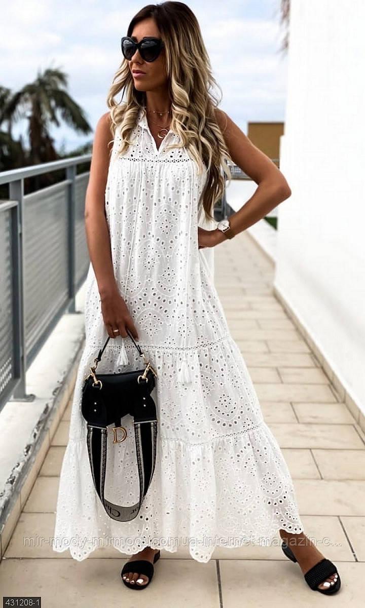 Платье  легкое  431208-1   из  прошвы  с 42 - 46 размер (мш)