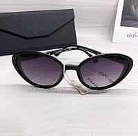 Солнцезащитные женские очки лисички Burberry реплика Черные, фото 1