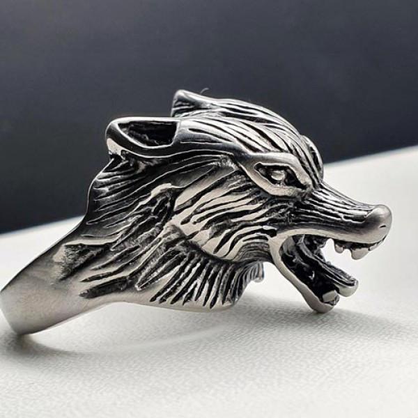 Мужское кольцо из медицинской стали Голова волка 175912