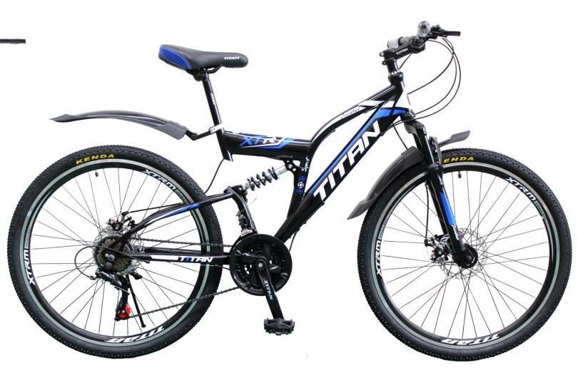 """TitanBike Велосипед Titan Panther 26""""18"""" Чёрный-Голубой-Белый"""