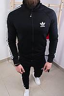 Чёрный спортивный костюм мужской Адидас реплика классический