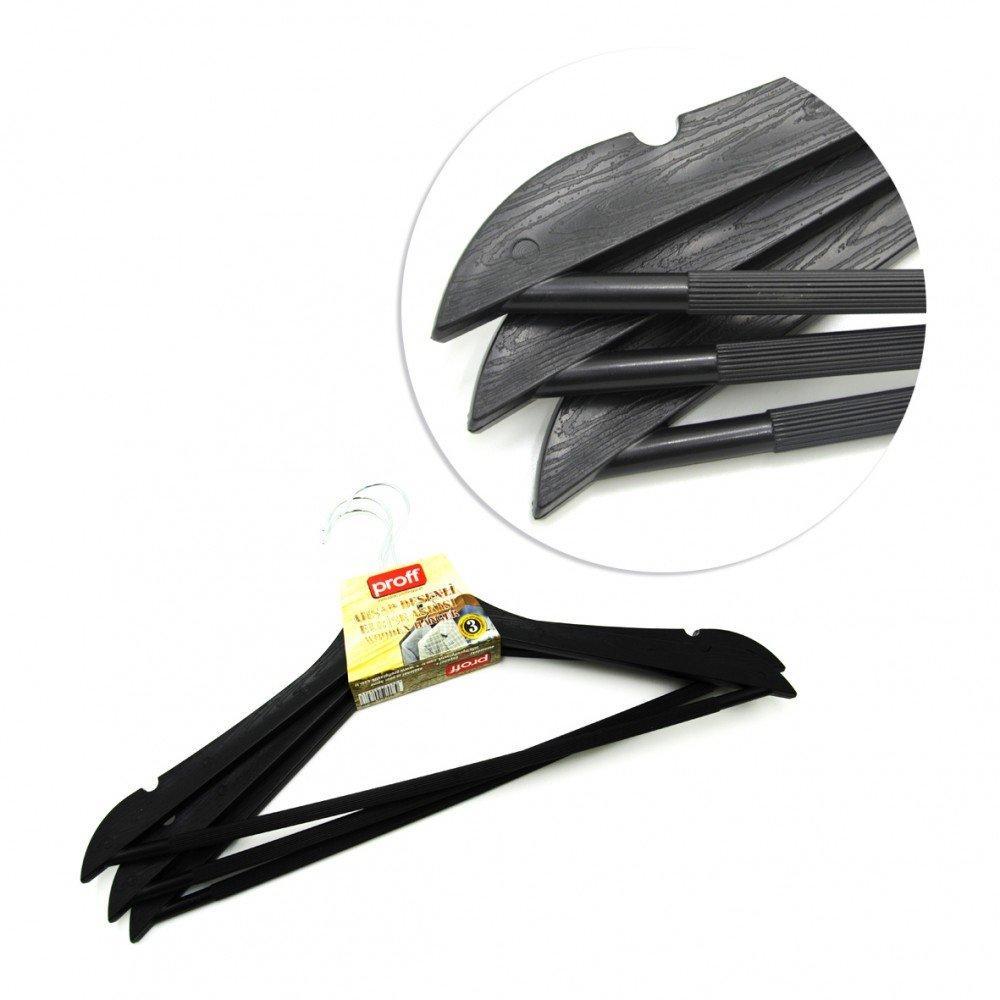 Набор вешалок для одежды Proff Wooden Design 44 х 1 см 3 шт чёрные