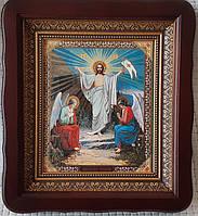 Икона Воскресение Господне в темном киоте, со стеклом 23х26см
