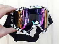 Мото  кроссовые очки Бело черные стекло темное