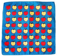 Оригинальная хлопковая бандана, яблоки, 55*55 см, синий, фото 1