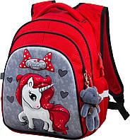 Рюкзак школьный ортопедический для девочки 1-4 класса на три отдела Пони Единорог 29*19*38см Winner One R2-165