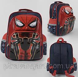 """Рюкзак школьный """"Человек-паук"""" 3D принт, 1 отделение, 2 кармана, дышащая спинка, в пакете С 43635"""
