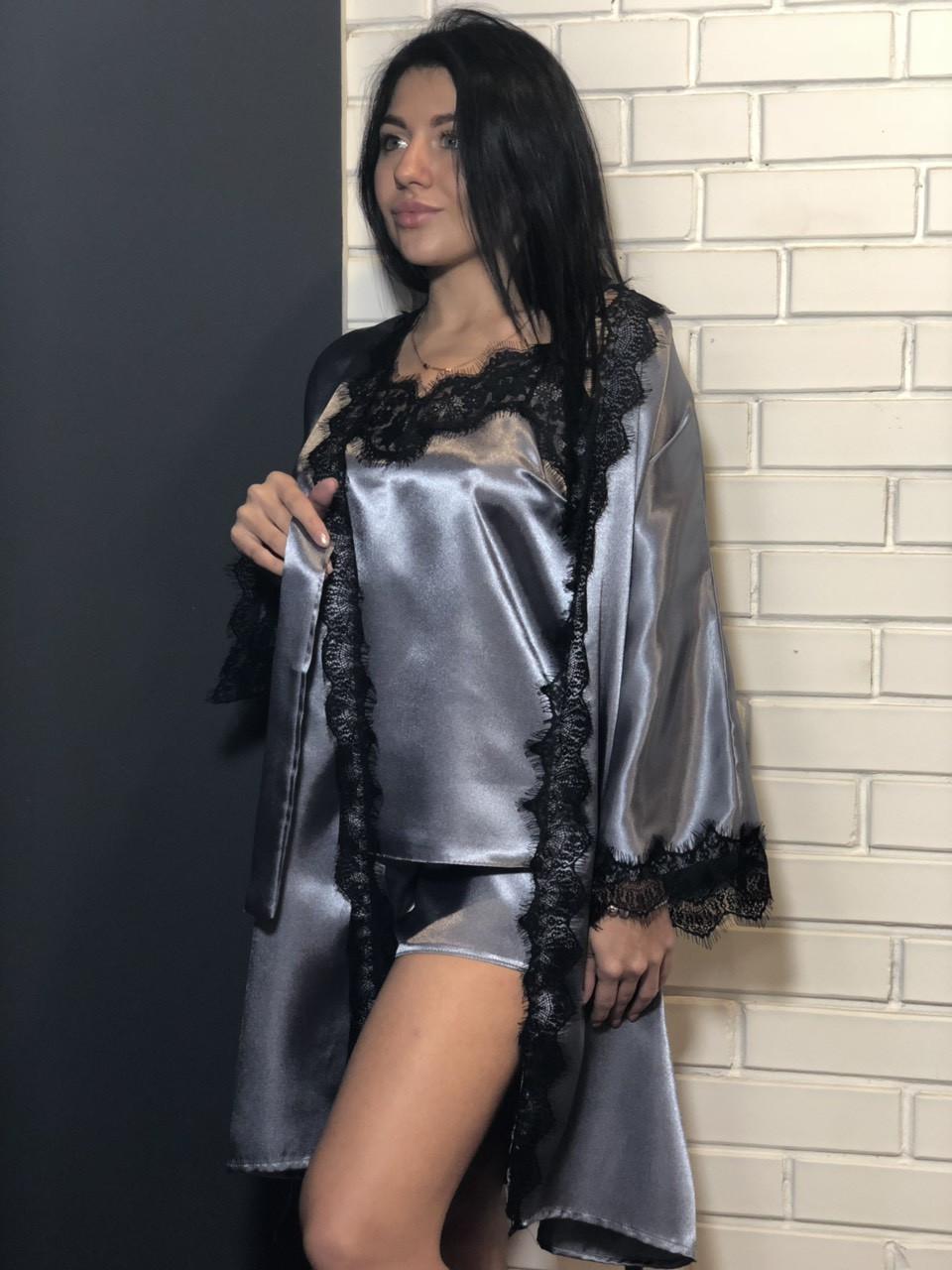 Атласний комплект шорти,халат і майка