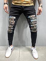 Джинсы мужские черные с нашивками зауженные мега стильные узкие чёрные джинсы мужские с рисунком