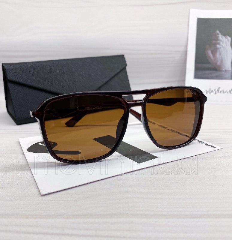 Мужские солнцезащитные очки авиаторы Porsche реплика Коричневые