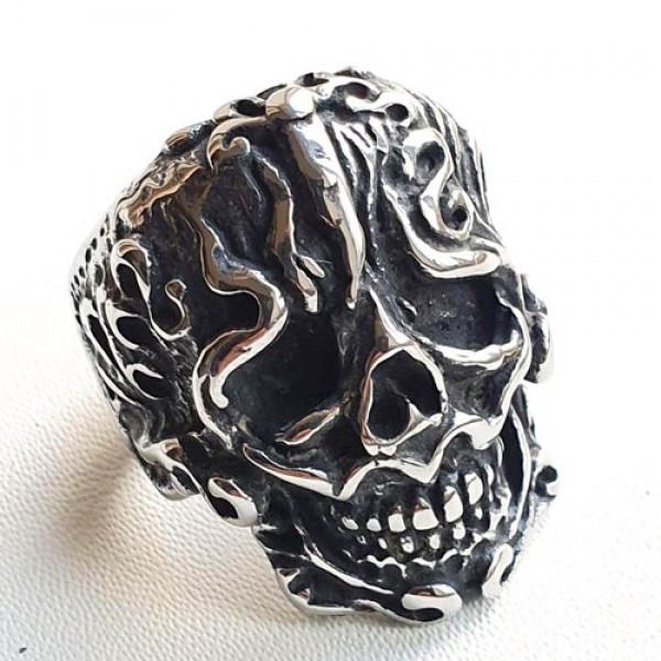 Байкерское кольцо из медицинской стали Череп викинга 175917