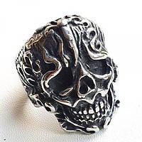Байкерское кольцо из медицинской стали Череп викинга 175917, фото 1