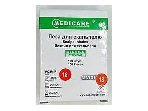 """Лезвие для скальпеля """"MEDICARE"""" размер 18"""
