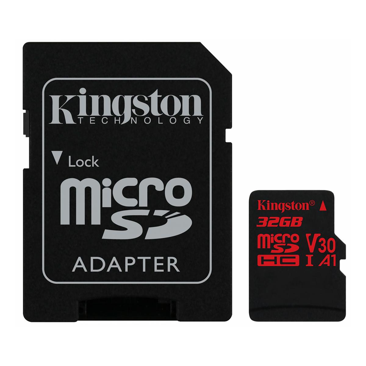 Карта памяти microSDHC Kingston 32GB Canvas Reac V30 A1 Class 10 UHS-I U3 (W80MB/s, R100MB/s)