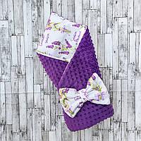 "Двусторонний конверт-плед на выписку ""Kid Way"" Минки фиолетовая лаванда"
