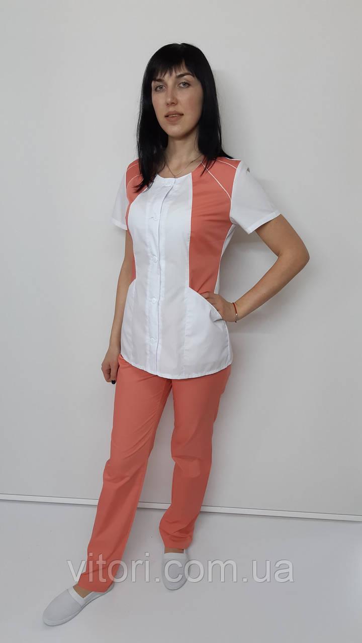 Женский медицинский костюм Лика рубашечная ткань короткий рукав
