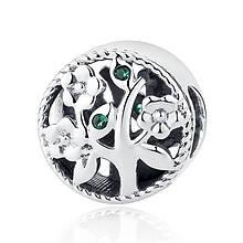 """Шарм """"Цветущее дерево"""" серебро 925 проба, кубический цирконий"""