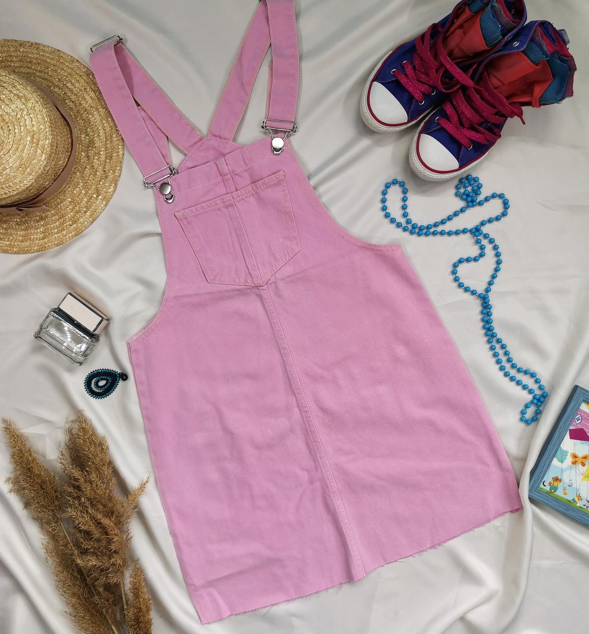 Жіночий джинсовий сарафан рожевий