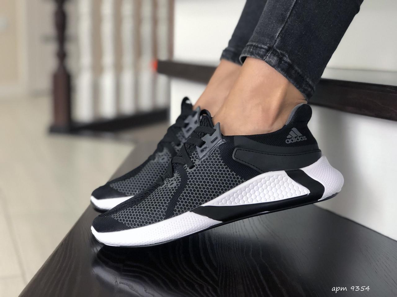 Жіночі кросівки Adidas (чорно-сірі з білим) 9354