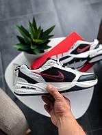 Мужские черно-белые кожаные кроссовки Nike Air Monarch IV (red)