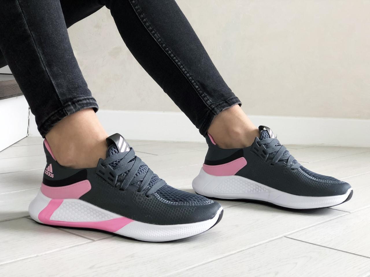 Женские кроссовки Adidas (серо-белые с розовым) 9356