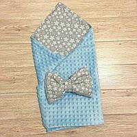 """Двусторонний конверт-плед на выписку """"Kid Way"""" Минки голубой с серыми звёздами"""