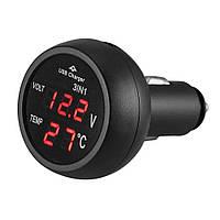 Вольтметр в прикуриватель +амперметр+2 USB+термометр 12V