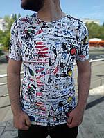Белая мужская футболка Bright с принтами