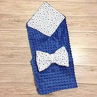 """Двусторонний конверт-плед на выписку """"Kid Way"""" Минки синий со звёздочками"""