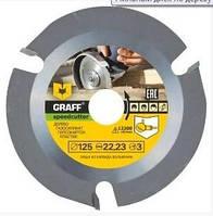 Пильный диск по дереву 125 мм для болгарки GRAFF с победитовыми напайками Speedcutter безопасная работа