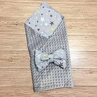 """Двусторонний конверт-плед на выписку """"Kid Way"""" Минки серый со звёздами"""