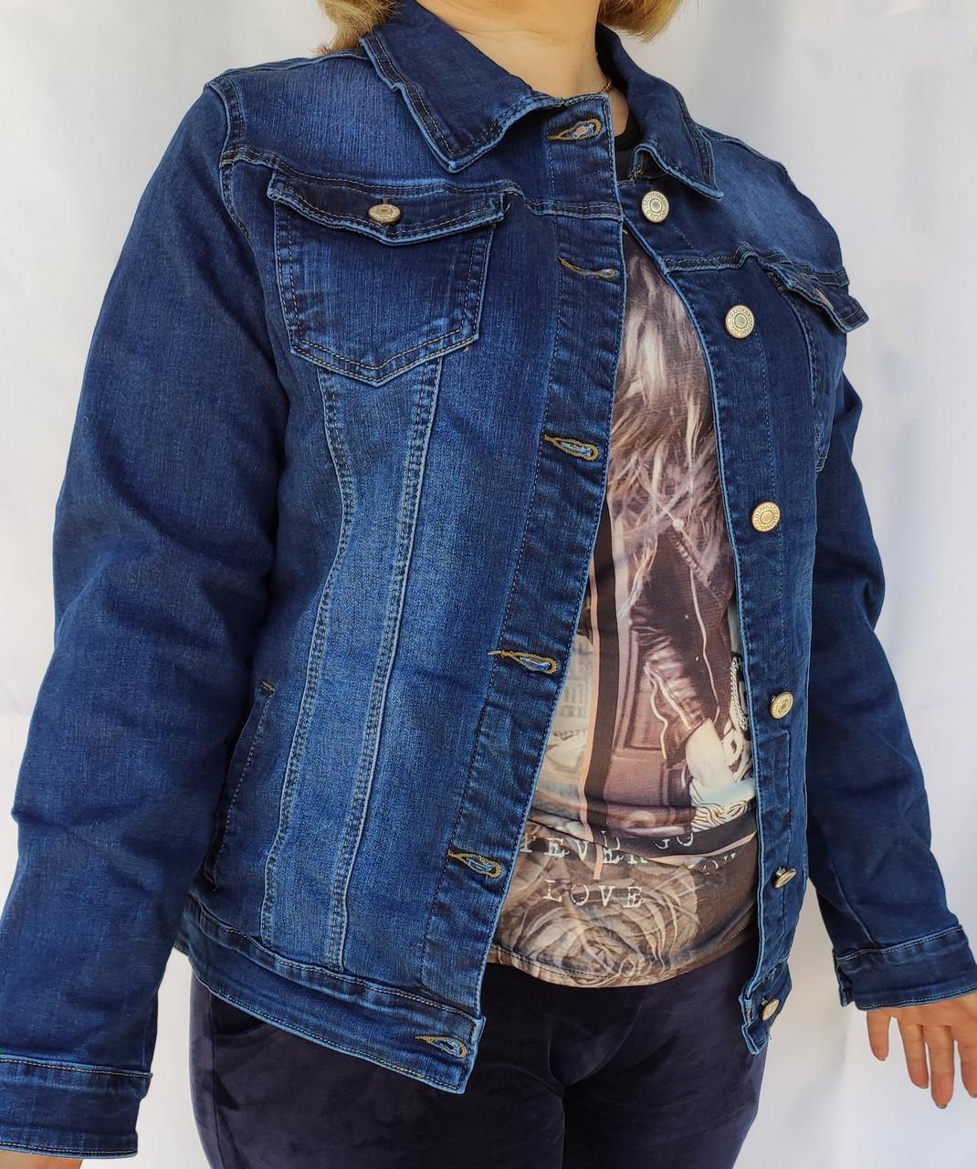 Куртка женская джинсовая 46-48 темно-синяя на пуговицах стрейчевая