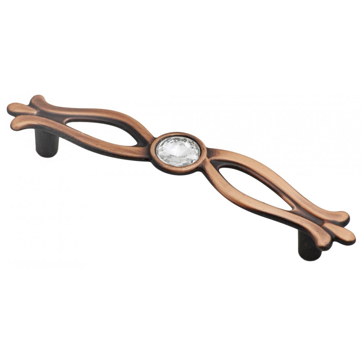 Ручка мебельная Ozkardesler 5447-09 SAHRA 96mm Медь с камнями