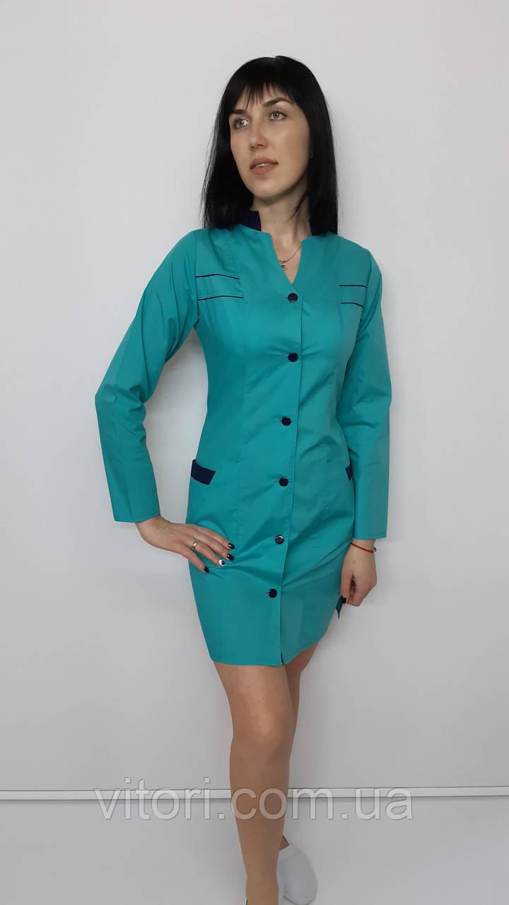 Жіночий медичний халат Оксана з сорочкової тканини довгий рукав