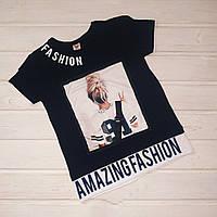 Красивая модная футболка для девочки Размеры  140 152