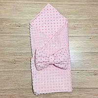 """Двусторонний конверт-плед на выписку """"Kid Way"""" Минки розовый со звёздочками на розовом"""