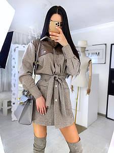 Стильное женское платье-рубашка с поясом 46-52 р