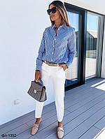 Стильный женский костюм с брюками и рубашкой в полоску, фото 1