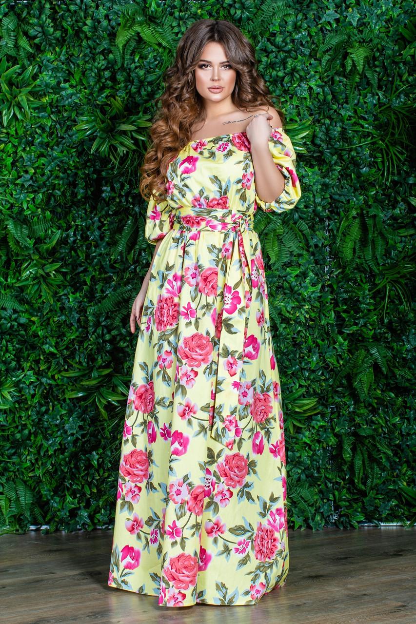 РАСПРОДАЖА! Летнее длинное платье с открытыми плечами, цветочный принт, 2 цвета, р.48-50 код 0015У