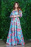 РАСПРОДАЖА! Летнее длинное платье с открытыми плечами, цветочный принт, 2 цвета, р.48-50 код 0015У, фото 3