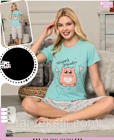 Пижама женская футболка и капри хлопок 100 % Т.М SAFIR Турция № 444, фото 2