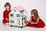 """Кукольный домик NestWood """"Сказочный"""" на подставке 2х-сторонний для кукол ЛОЛ, 4 комнаты (этаж 20см), фото 4"""