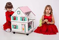 """Кукольный домик NestWood """"Сказочный"""" на подставке 2х-сторонний для кукол ЛОЛ, 4 комнаты (этаж 20см)"""