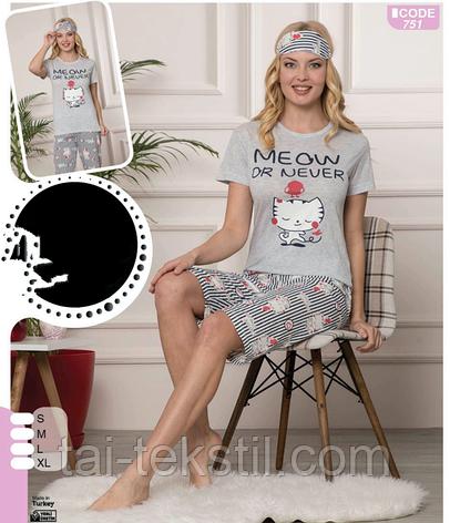 Пижама женская футболка и капри хлопок 100 % Т.М SAFIR Турция № 751, фото 2