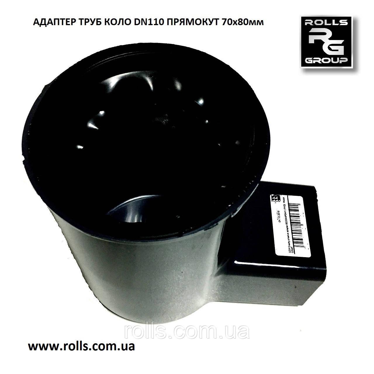 Переходник HIDDEN / PVC2 черный Колено угловой адаптер трубы круглого сечения DN110мм на прямоугольную 70х80мм