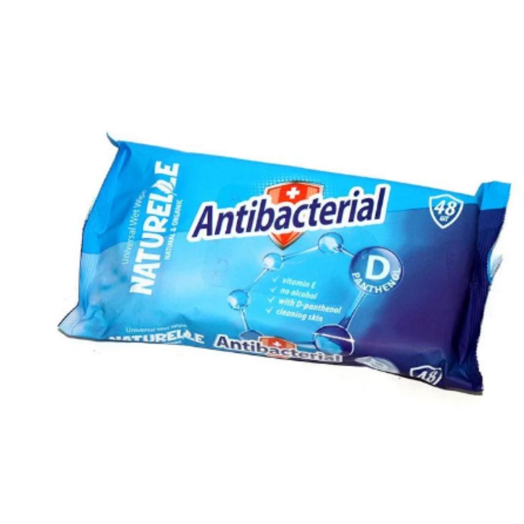 """Влажные салфетки """"NATURELLE"""" antibacterial, D - panthenol, 48 шт"""