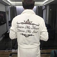 Именные халаты махровые с вышивкой (махра двухсторонняя, хлопок 100%) Белый, XXXL